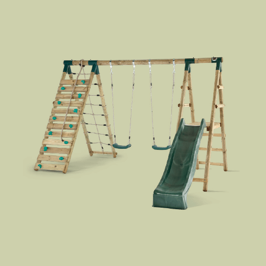 PLUM WOOLLY MONKEY II WOODEN SWING SET